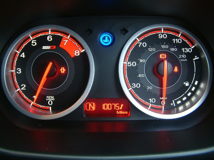 The dials perform a racing style sweep when the ignition is turned on. Bright blue lamp to advise of a cold engine is confusing at night and totally unnecessary.