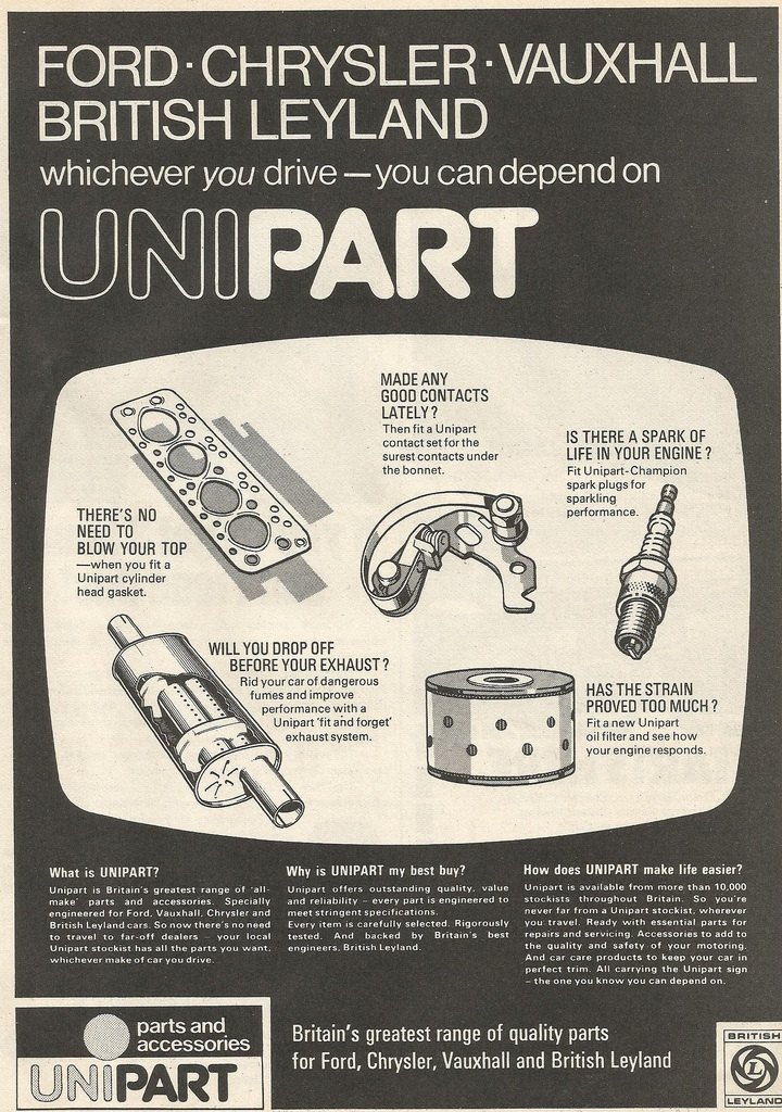 One of the original Unipart adverts - this one dates from 1974.