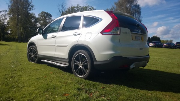 """Running boards and larger alloys are optional and makes the CR-V look cool and trendy. The Orchid White """"flip pearl"""" paint job is superb."""