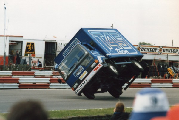 The Roadrunner does its party trick with famed stunt driver Gilbert Bataille at the wheel - Silverstone 1985