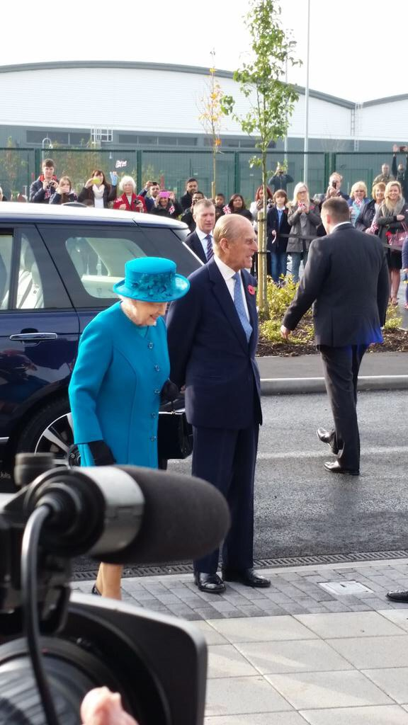 The Queen & Prince Philip arrive at JLR's i54 engine plant for the official opening ceremony            (Img: Express & Star)