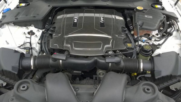 The UK assembled V8 with a twin vortex supercharger sounds awesome and delivers more power than an electrical storm - Stunning carbon fibre cover looks very snappy!