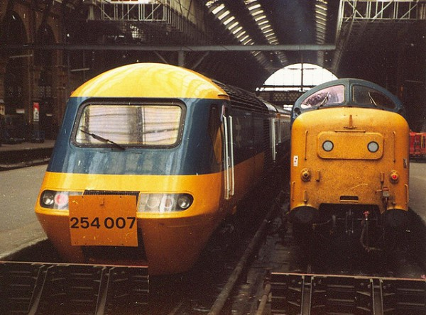 "Old and the new. An HST and Deltic enjoy a cozy chat at ""The Cross"" in the summer of 1978."