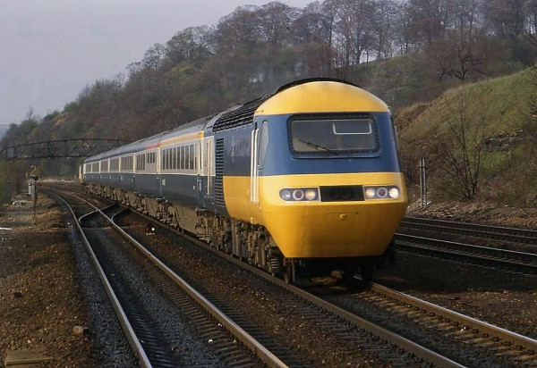 In original livery - An HST set on the Midland Mainline near Chesterfield on the long drag up the bank to Sheffield.