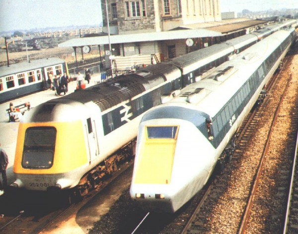 The battle for supremacy seen at Swindon. The prototype HST alongside the prototype Leyland Gas Turbine APT-P... the latter suffered a slow and lingering death.