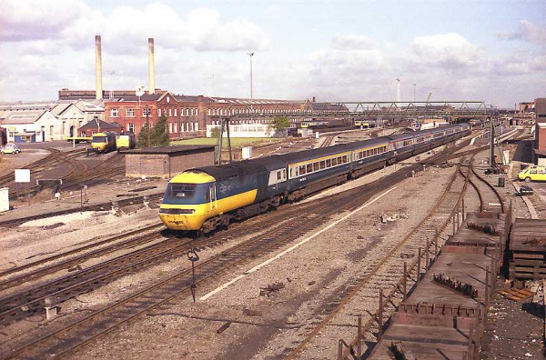 Doncaster 1980. An Eastern Region HST departs passing